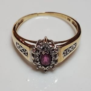 Ruby & diamond gold ring 10k